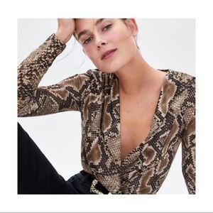 Zara Woman Snake Long Sleeve Bodysuit